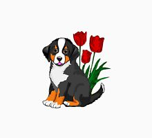 Bernese Mountain dog puppy with tulips Unisex T-Shirt