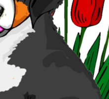 Bernese Mountain dog puppy with tulips Sticker
