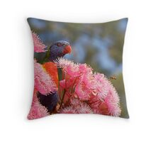 The Bird, the Bee and the Gum Blossoms ~ Rainbow Lorikeet Throw Pillow