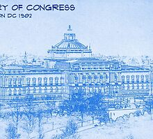 Library of Congress Washington DC 1902  - BluePrint Drawing by Adam Asar