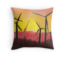 Wind Farm Sunset Throw Pillow