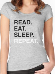 Read. Eat. Sleep. Repeat. (Blue) Women's Fitted Scoop T-Shirt