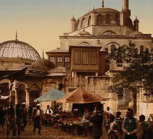 Mosque and street, Scutari, Constantinople, Turkey, ca. 1895 by Adam Asar