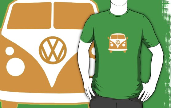 VW Camper T Shirt (orange) by Pinhead Industries
