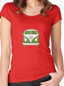 VW Camper T Shirt (green) Women's Fitted Scoop T-Shirt