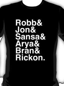 Robb & Jon & Sansa & Arya & Bran & Rickon. (inverse) T-Shirt