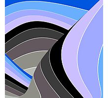 Curves in Gray and Blue Photographic Print