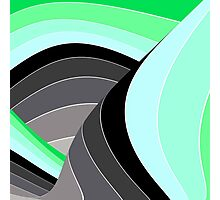 Curves in Gray and Green Photographic Print