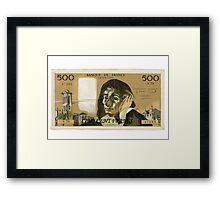 50 Old French Franc  note - Front side Framed Print