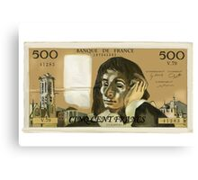 50 Old French Franc  note - Front side Canvas Print