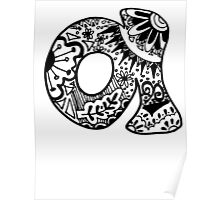 "Hipster Letter ""A"" Zentangle Poster"