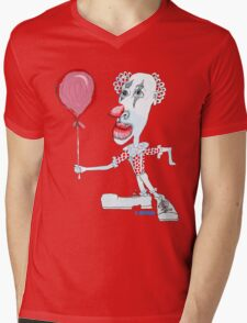 Circus Clown w. Red Ballon Mens V-Neck T-Shirt