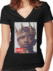 Kendrick Lamar - Retro  Women's Fitted V-Neck T-Shirt