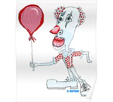 Circus Clown w. Red Ballon Poster