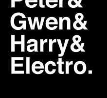 Peter & Gwen & Harry & Electro. (inverse) by Samantha Weldon