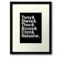 Tony & Steve & Thor & Bruce & Clint & Natasha. (inverse) Framed Print