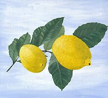 Oil painting of a lemon tree branch with two lemons, isolated on an acrylic painted background by KerstinB