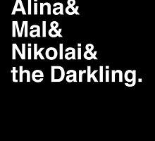 Alina & Mal & Nikolai & the Darkling. (inverse) by Samantha Weldon