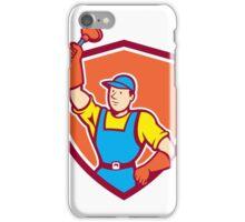 Plumber Holding Plunger Up Shield Cartoon iPhone Case/Skin