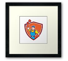Plumber Holding Plunger Up Shield Cartoon Framed Print