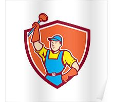 Plumber Holding Plunger Up Shield Cartoon Poster