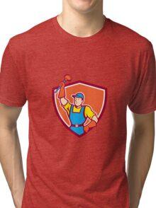 Plumber Holding Plunger Up Shield Cartoon Tri-blend T-Shirt