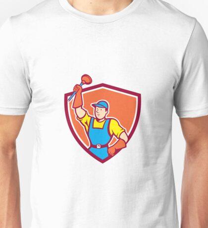 Plumber Holding Plunger Up Shield Cartoon Unisex T-Shirt