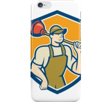 Plumber Holding Plunger Shield Cartoon iPhone Case/Skin