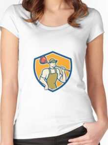 Plumber Holding Plunger Shield Cartoon Women's Fitted Scoop T-Shirt