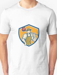 Plumber Holding Plunger Shield Cartoon Unisex T-Shirt