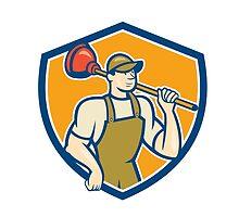 Plumber Holding Plunger Shield Cartoon by patrimonio