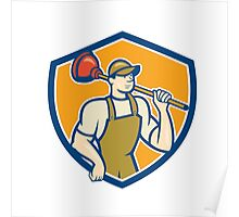 Plumber Holding Plunger Shield Cartoon Poster
