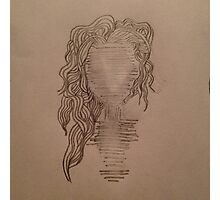 Faceless wavy-haired human. Photographic Print