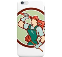 Plumber Holding Wrench Plunger Circle Cartoon iPhone Case/Skin