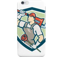 Plumber Holding Wrench Plunger Shield Cartoon iPhone Case/Skin
