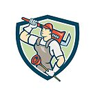 Plumber Holding Wrench Plunger Shield Cartoon by patrimonio