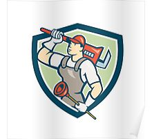Plumber Holding Wrench Plunger Shield Cartoon Poster