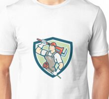 Plumber Holding Wrench Plunger Shield Cartoon Unisex T-Shirt