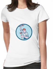 Plumber Holding Wrench Plunger Circle Cartoon Womens Fitted T-Shirt