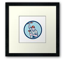Plumber Holding Wrench Plunger Circle Cartoon Framed Print