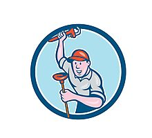 Plumber Holding Wrench Plunger Circle Cartoon Photographic Print