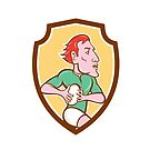 Rugby Player Running Ball Shield Cartoon by patrimonio