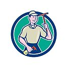 Window Washer Cleaner Squeegee Circle Cartoon by patrimonio