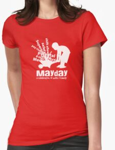 MayDay 2008: a celebration of work and family - White print Womens Fitted T-Shirt