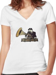 Old School DJ  Women's Fitted V-Neck T-Shirt