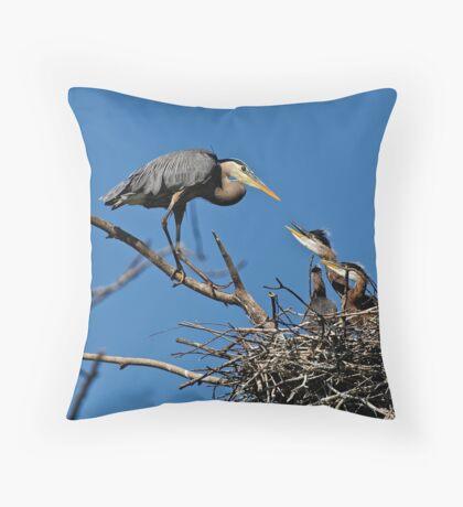 Great Blue Heron with Babies - Ottawa, Ontario Throw Pillow