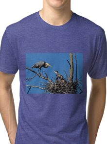 Great Blue Heron with Babies - Ottawa, Ontario Tri-blend T-Shirt