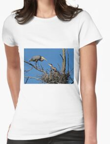 Great Blue Heron with Babies - Ottawa, Ontario Womens Fitted T-Shirt