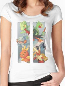 pokemon 3rd gen starters megaevolved cool design Women's Fitted Scoop T-Shirt