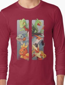pokemon 3rd gen starters megaevolved cool design Long Sleeve T-Shirt